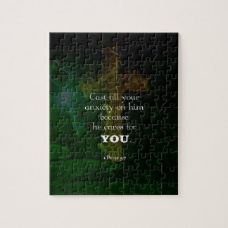 1 Peter 5:7 Uplifting Bible Verses Quote Jigsaw Puzzle