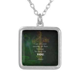 1 Peter 5:7 Uplifting Bible Verses Quote Silver Plated Necklace
