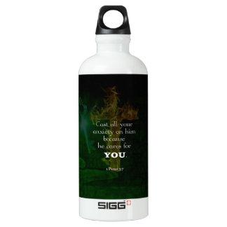 1 Peter 5:7 Uplifting Bible Verses Quote Water Bottle