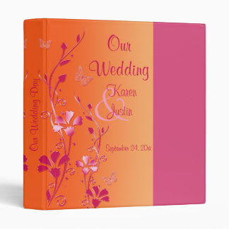 "1"" Pink and Orange Floral Wedding Binder"