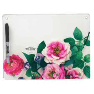 1 Pink Wild Rose Flower Bouquet Love Bible Verse Dry Erase Board With Keychain Holder