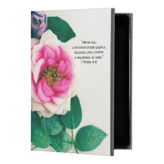 "1 Pink Wild Rose Flower Bouquet Love Bible Verse iPad Pro 9.7"" Case"