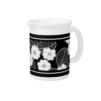 1 Pitcher Damask Floral Gray Black White