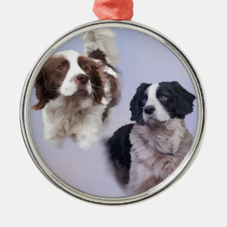 1 PRINT A4 Two dogs blue 19 x 13.jpg Silver-Colored Round Ornament