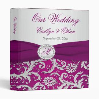 """1"""" PRINTED RIBBON Plum, Silver Wedding Binder"""