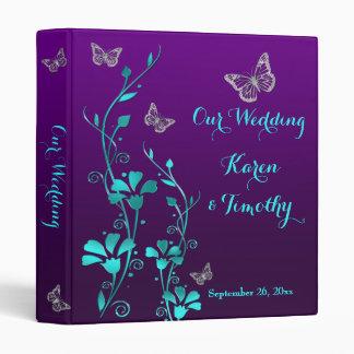 "1"" Purple, Teal Floral, Butterfly Wedding Binder"