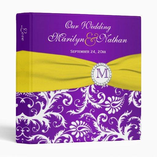 """1"""" Purple Yellow White Damask Wedding Binder"""