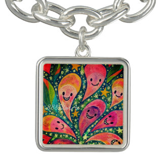1 sections 1 in laughing flower acrylic picture charm bracelets