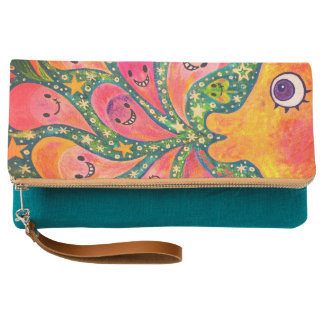 1 sections in laughing flower acrylic picture clutch