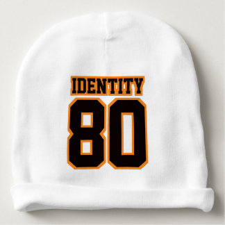 1 Side Beanie WHITE BLACK ORANGE Football Jersey Baby Beanie
