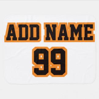 1 Side Blanket WHITE BLACK ORANGE Football Jersey