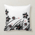 1 Square Pillow Floral Red Black White