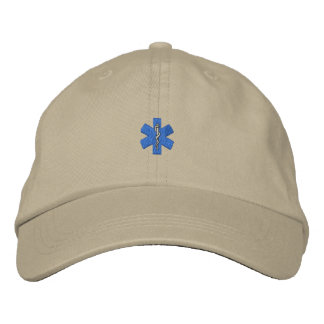 "1"" Star Of Life Embroidered Baseball Caps"