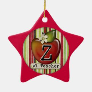 #1 teacher apple initial letter Z Ceramic Star Ornament