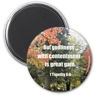1 Timothy 6:6 But Godliness with contentment is Magnet