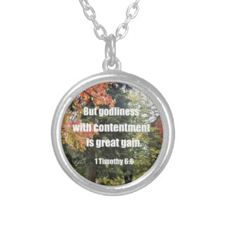 1 Timothy 6:6 But Godliness with contentment is Silver Plated Necklace