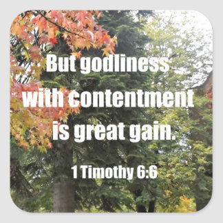 1 Timothy 6:6 But Godliness with contentment is Square Sticker