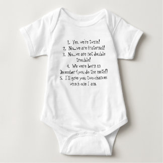 1.  Twins Common Answers to Stupid Questions Baby Bodysuit