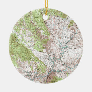 1 x 2 Degree Topographic Map Ceramic Ornament