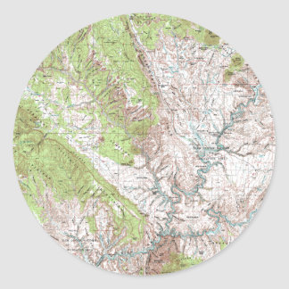1 x 2 Degree Topographic Map Classic Round Sticker