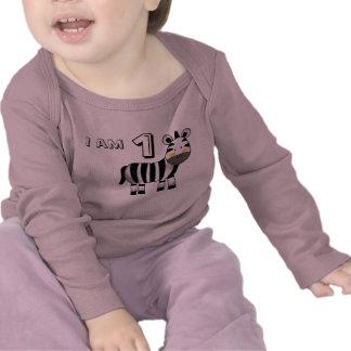 1 year old birthday boy/girl gift (zebra) tshirt