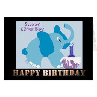 1 Year old Boy Birthday One year old B_day card