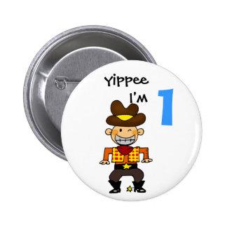 1 year old cowboy 2 inch round button