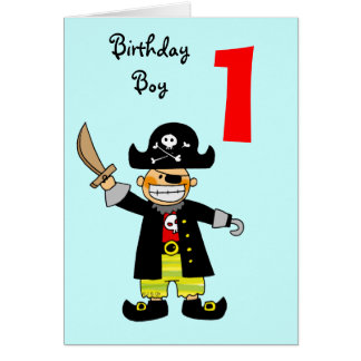1 year old pirate boy card