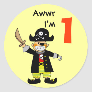 1 year old pirate boy classic round sticker