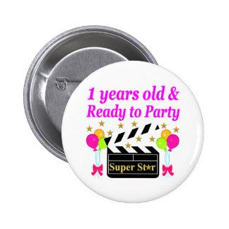 1 YEAR OLD SUPER STAR BIRTHDAY DESIGN 2 INCH ROUND BUTTON
