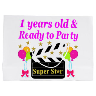 1 YEAR OLD SUPER STAR BIRTHDAY DESIGN LARGE GIFT BAG