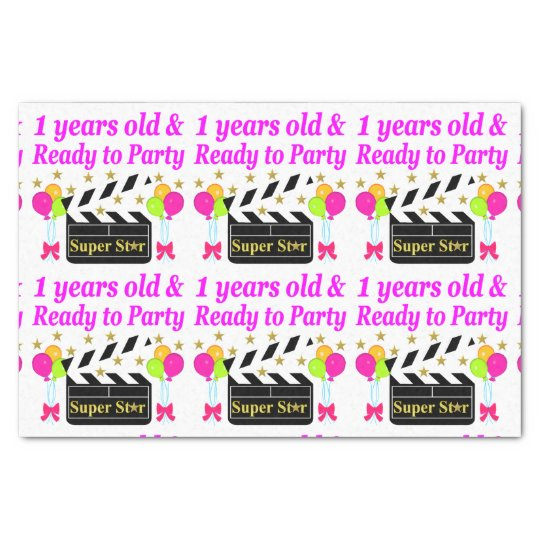 1 YEAR OLD SUPER STAR BIRTHDAY DESIGN TISSUE PAPER