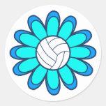 1Aqua Volleyball Girl Round Sticker