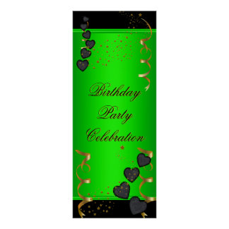 1big Banner Birthday Party Celebration Lime Green Poster