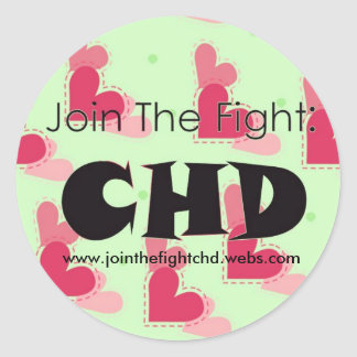 1Jointhefightlogo, www.jointhefightchd.webs.com Classic Round Sticker