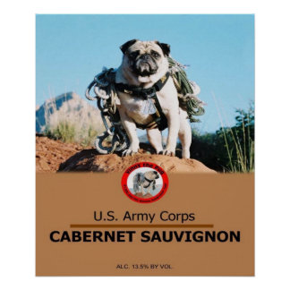 1Lt. Vincent Thomas Pugs Private Label Wine Poster