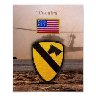 1st 7th Cavalry Air Cav Vetereans Vets Patch Poster