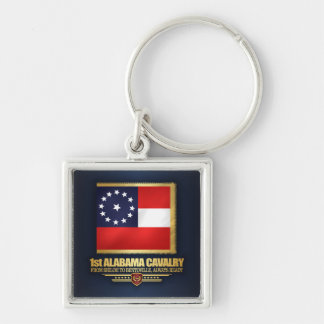 1st Alabama Cavalry Silver-Colored Square Keychain