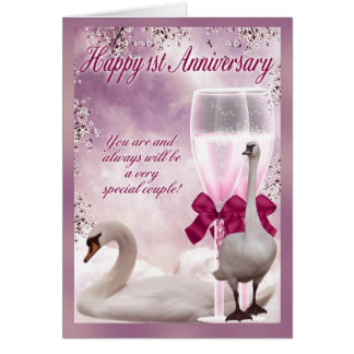 1st Anniversary Card - Paper Anniversary - Swans A