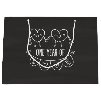1st Anniversary Gift for Her Chalk Hearts Gift Bag