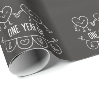 1st Anniversary Gift for Her Chalk Wrapping Paper