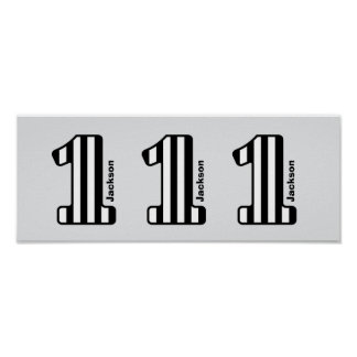 1st BABY Birthday Black Striped Big Number A20Z Poster