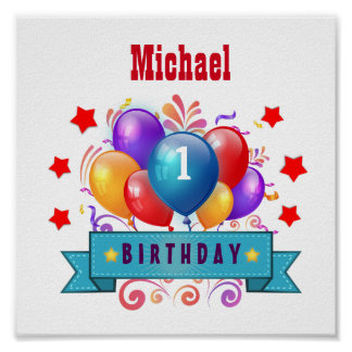 1st BABY Birthday Festive Colorful Balloons V10IZ Poster