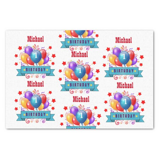 1st BABY Birthday Festive Colourful Balloons V10IZ Tissue Paper
