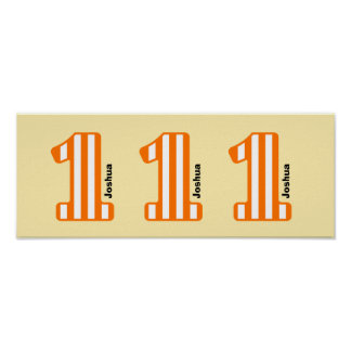 1st BABY Birthday Orange Striped Big Number N01Z Poster