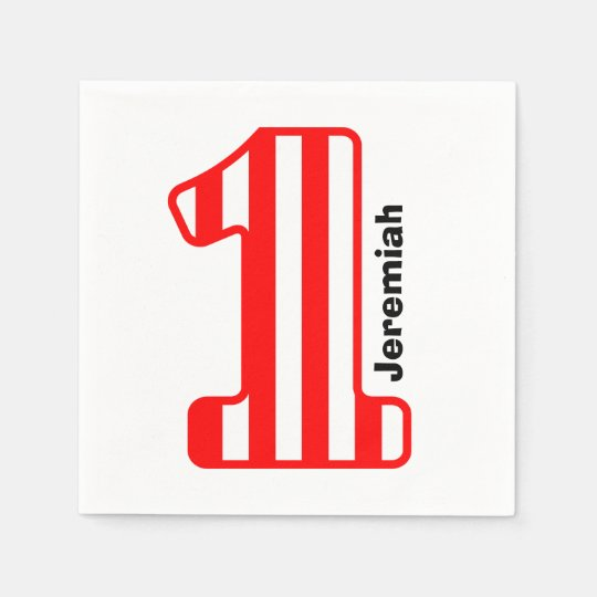 1st BABY Birthday Red Striped Big Number A10 Disposable Napkins