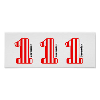 1st BABY Birthday Red Striped Big Number A34 Poster