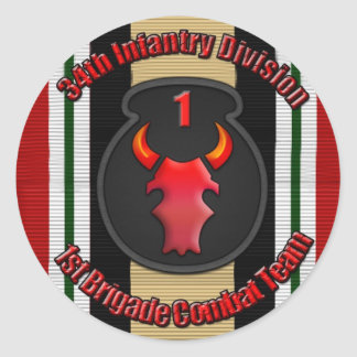 1st BCT 34th ID Round Sticker