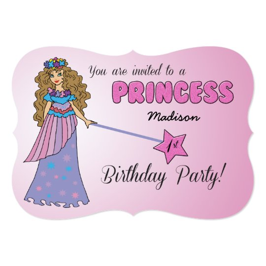 1st Bday Invitation Pink Princess w/ Sparkly Wand