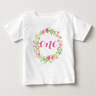 1st Birthday Baby Girl Floral Wreath Baby T-Shirt